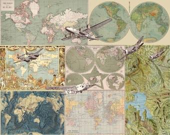 "Airplane Map Fleece Blanket - ""Flight Patterns"" antique maps - sage, sofa, couch, bed, travel decor, boys, soft, winter, warm, planes"