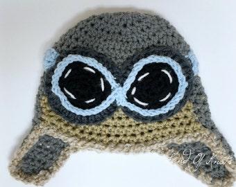 crochet pilot hat, baby pilot hat, infant pilot hat, baby bomber hat, crochet bomber hat, pilot photo prop, baby pilot photo prop.