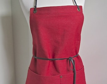 Full Apron  Woman Japanese Denim  Apron Red Denim  Skinny Leather Ties  Cook apron