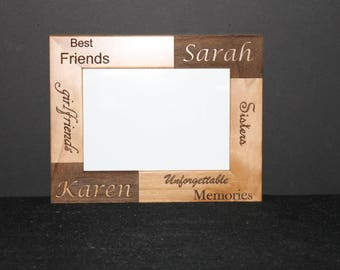 """Personalized picture frame """"Best Friends"""" Girlfriends, Sisters.  Laser engraved."""