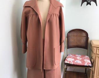 Vintage 1950's Coat and Skirt Set / 50's Swing Coat Set / vintage two piece set