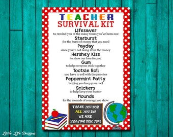 Teacher Thank You Gift. Teacher Appreciation Gift. Gift for Teacher. Teacher Survival Kit. Survival Kit for Teacher Thank You Card. Gift