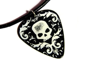 Damask Skull Guitar Pick Necklace, black and white