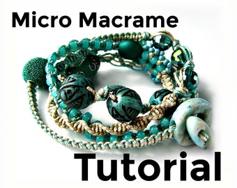 Micro Macrame Tutorial - Wrap Bracelet - Pattern - Beaded Macrame - Jewelry Making - DIY - Beginner Macrame Jewelry Instruction