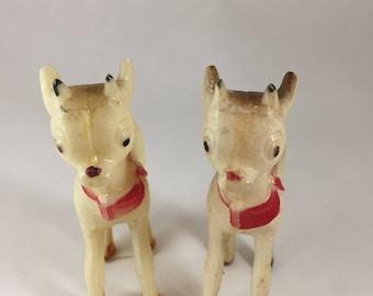Vintage Hard Plastic Reindeer/Rudolph - Pair (2)