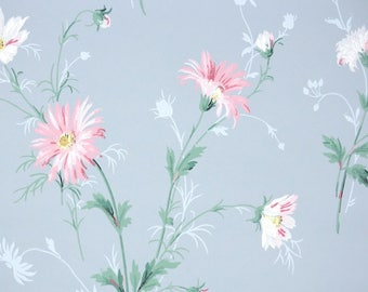 1940's Vintage Wallpaper - Pink and White Daisies on Blue