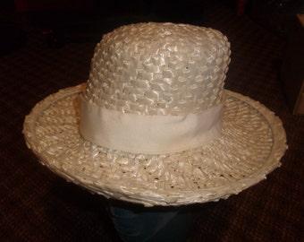 vintage ladies hat white straw like wide brim
