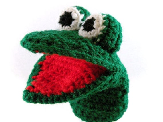 Green Gator Alligator Little Kid's Hand Puppet - Made Just For Tiny Hands!