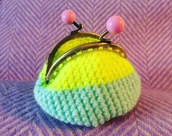 Crochet purse, coin purse, neon, retro