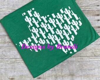 Texas cactus tri blend shirt // ladies shirt // Texas shirt // Cactus shirt