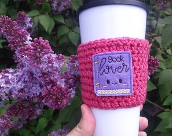 Book lover gift, book lover present, gift for book lover, book lover cup cozy, travel mug cozy, teachers gift, book and coffee lover gift