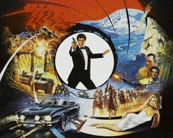 Set of 2 fridge magnets 7.5 cm x 4.5 cm James Bond The Living Daylights