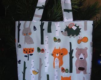 Woodland tote bag Hand embroidered cotton tote bag Easter gift for her animal bag Shopping bag Shoulder Bag Book Bag Market Bag