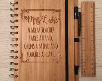 Personalised engraved bamboo notebook pen and ruler perfect for teacher gift school