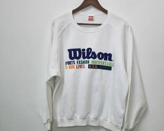 Vintage WILSON Sweatshirt Big Logo Design Multi Colour Logo