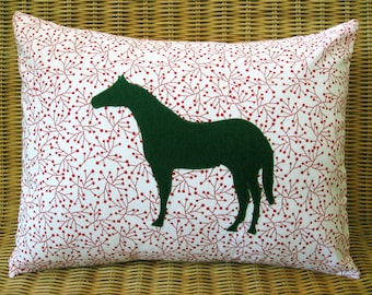 """Appliquéd Horse Pillow, Green Equine with Red & White Modern Botanical Print, 12"""" x 16"""""""