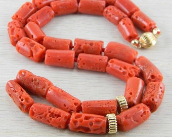 Gold Filled Victorian Antique Red Italian Coral Necklace AN-N15