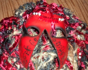 Handmade Red Mask with Hair