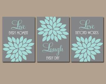 Live Laugh Love Wall Art, Baby Girl Nursery Decor, Gray Aqua Decor, Girl Bedroom Wall Decor, CANVAS or Prints, Flower Burst, Quotes Set of 3