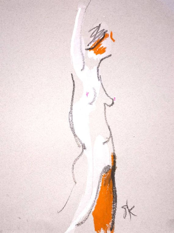 Nude painting of One minute pose 107.4 Original painting by Gretchen Kelly