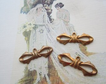 Vintage Solid Brass Bow Pendants Or Connectors With Loop and Patina 3Pcs.