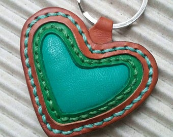 Keychain leather Heart Gift leather Bag Charm Valentines Gift