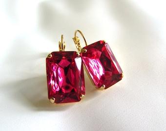 Bright Pink Earrings, Pink Statement Earrings, Georgian Paste Jewelry, Anna Wintour, Rhinestone Antoinette 18th Century, Dark Pink Raspberry