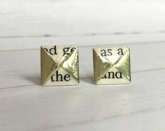 Literary Origami Gold Menko Post Earrings