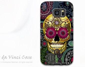 Sugar Skull Case for Galaxy S7 - Premium Dual Layer Galaxy S 7 Case with Day of The Dead Art - Sugar Skull Paisley - by Da Vinci Case