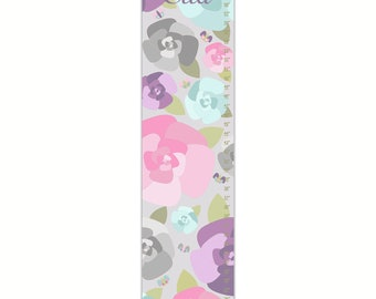 Growth Chart, Rose Garden Growth Chart, Floral Growth Chart, Purple Growth Chart, Custom Growth Chart, Canvas Growth Chart
