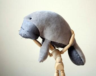 Plush Manatee, Grey Dugong Plushie, Stuffed Sea Cow