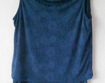 Katy Ireland women's drape top open front skirt elastic band waist blue casual two piece size M