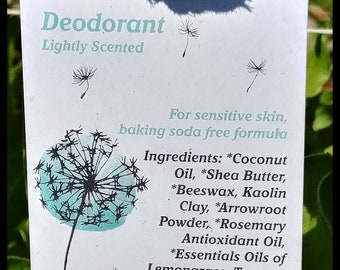 SAMPLE,Sensitive Skin Deodorant,no baking soda,lightly scented with lemongrass and rosemary