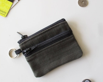Slim wallet in olive green jeans/olive green jeans wallet