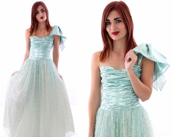 Gunne Sax Dress Lace Vintage 80s Prom Formal Metallic 50s Style Bustier Boning Sweetheart Romantic Blue Full Skirt Petticoat Size 5 Small S