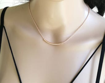 Tube Necklace, Rose Gold Necklace, Rose Gold Tube Necklace, Dainty Necklace, Minimal Necklace, Layering Necklace, Rose Gold, Bar Necklace
