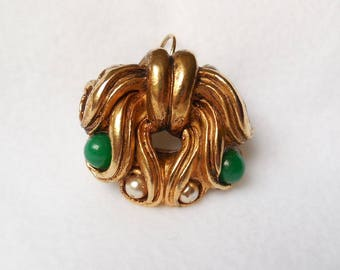 Vintage 1980's vintage pendant creating couture Claire DEVE Golden resin beads