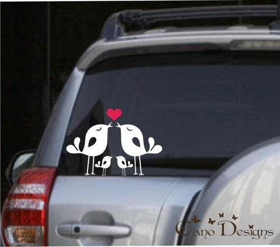 Lovely bird family car vinyl decals stickers window decals