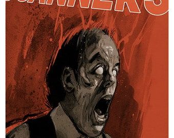 Scanners movie poster colour art print David Cronenberg