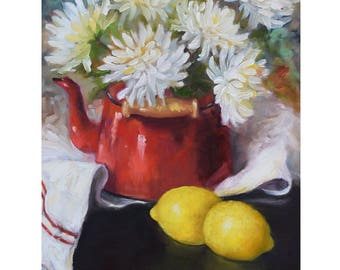 Still Life Wall Art Red Enamelware Teakettle With Yellow Lemons,Original Canvas Oil Painting By Cheri Wollenberg