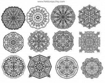 Medallion Clip Art - Lace Doilies - Decorative Digital Stamps - PNG Graphics & Photoshop Brushes - Mandela ClipArt