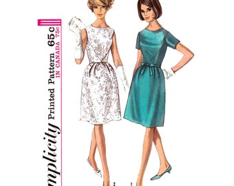 1960s Dress Pattern Simplicity 6220 Sleeveless Cocktail Dress Bell Skirt Junior Bust 33 Vintage Sewing Pattern Women