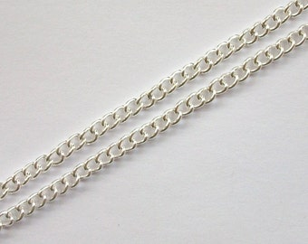 4x3mm curb chain, open link chain 4x3mm links 32 feet (724) Silver plated