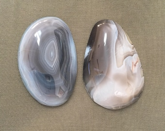 African Botswana Agate Cabochon 2-pc Set. Healing Power/Jewelry Making/Charms/Collectibles