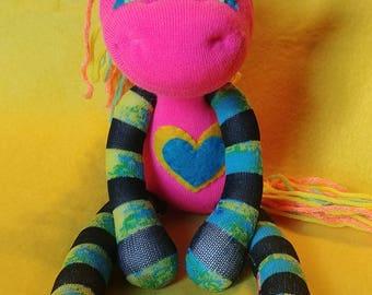 """Hip - 13.5"""" Sock Unicorn Plush - Handmade Plush Doll"""