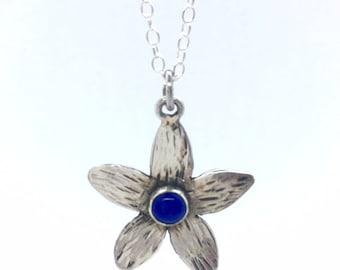 Silver Jasmine Lapis lazuli Flower Pendant Necklace,Lapis lazuli Necklace, Jasmine Flower Necklace, Sterling Silver Blue Jasmine Chain