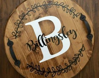 Customized Wooden Tray, Monogram Tray, Custom Tray, Wooden Tray, Wooden Tray With Laurel Leaves, Wedding Tray, Wooden Tray With Last Name
