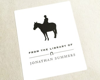 Horse Bookplates, Personalized Bookplate, Gift for Horse Lover, Riding Club Gift, Hostess Gift, Horse Bookplate, Riding Accessory, Set of 6