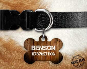 Personalised Pet Id Tag - Personalised Dog Tag - Custom Pet Id Tag - Wood Effect Dog Name Tag - Dog Id Tag - Dog Collar Name Tag