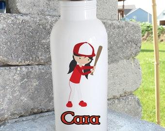 Baseball girl/Softball/ bottle/stainless steel water bottle/ straw top/custom/personalized/kids bottle